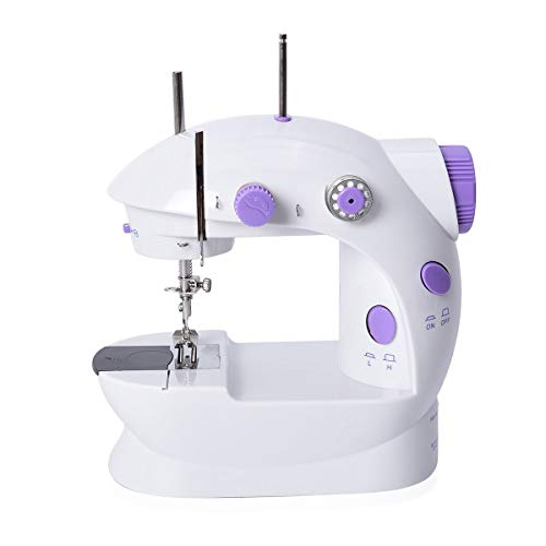 Shop LC Delivering Joy Mini Sewing Machine Handheld Portable Electric Adjustable 2-Speed with Foot Pedal Purple Home Crafting DIY Project