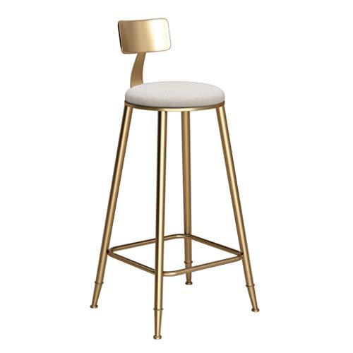 LIYG Barhocker, Küche Frühstücksstuhl, Kaffee Restaurant Lounge Stuhl, Thekenstuhl, Rückenlehne, Metall Halterung (Size : 46x46x73cm)