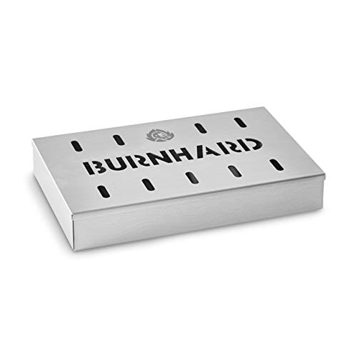 Burnhard Edelstahl Räucherbox 21 x 13 x 3,5 cm, Smokerbox für Gasgrill, Kohlegrill & Kugelgrill