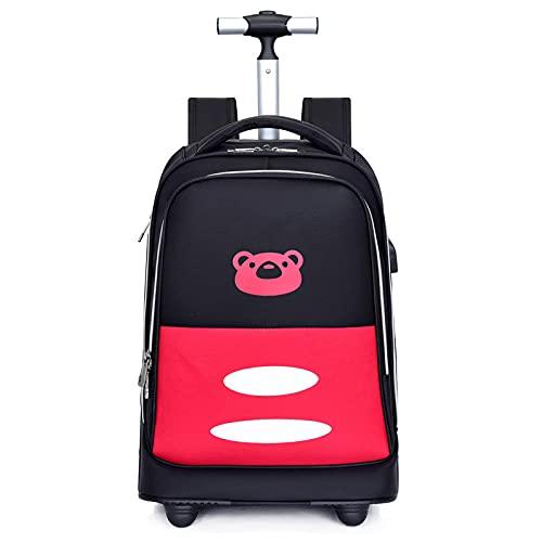 ZZLHHD Lentejuelas Mochila con Ruedas Niña,Bolsa de Lazo de Rueda Grande, Bolsa de Viaje USB Impermeable-Rojo B,Trolley de Ruedas para niños