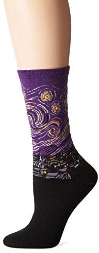 Hot Sox Damen Artist Series Crew Socken, Starry Night - Violett -