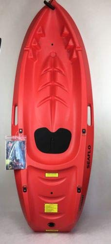 SeaFlo Beginner Kayak Kids Youth Paddle Lake Ocean Red Single Person 130lb Max