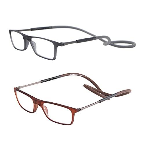 BAIHUO Gafas De Lectura Magnéticas Plegables Unisex De 2 Paquetes con Estuche de Gafas, Gafas De Lectura con Imán, Ligeras Y Plegables, con Cierre Magnético,para Unisex