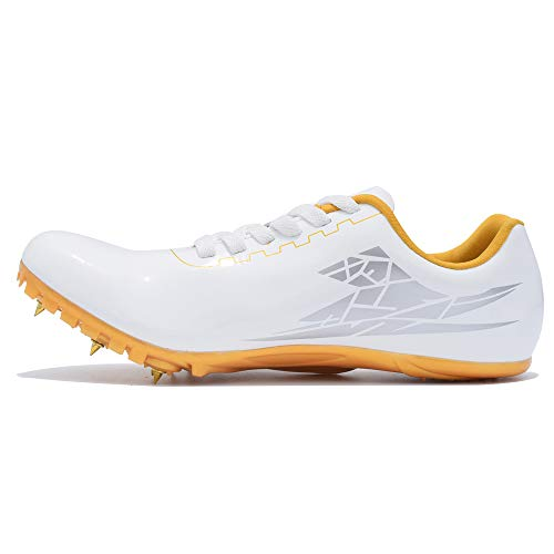 Thestron Laufschuhe mit Spikes für Herren und Damen, Sportschuhe, Sprinting Leichtathletik, Rennschuhe mit Spikes, für Jungen und Mädchen, Weiß-Gold