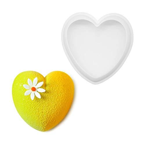 GLADMIN Moldes de Silicona de Forma de corazón de Amor 3D para Hornear Esponja de Gasa Mousse Postre moldes de Pastel (Color : (6 Inch Love 114g))