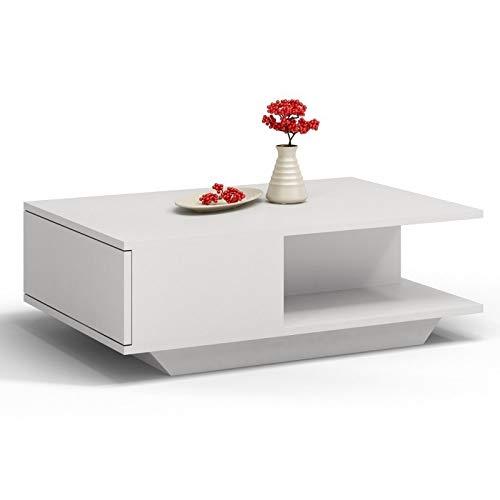 ADGO Denver - Mesa de café (90 x 60 x 42 cm), diseño moderno y rectangular, pequeña mesa baja para salón, mesa con almacenamiento, color blanco