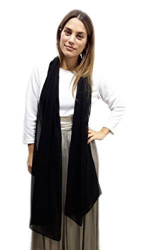 BRANDELIA Chiffon Schal Stola Ideal zum Sommerkleid oder Abendkleid. Elegante Chiffontücher, Schwarz