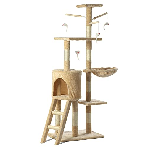 Cat Tree Scratching Post - 140CM Cat Climbing Tower and Indoor Activity...