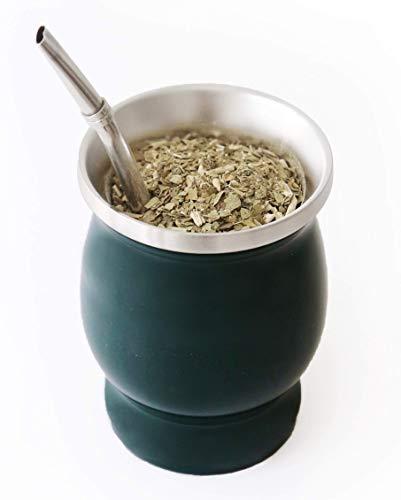 BALIBETOV Set de Mate de Doble Pared de Acero Inoxidable - Alternativa Mate de Calabaza - facil de Limpiar - con Bombilla (Sorbete) para Yerba Mate (Verde)
