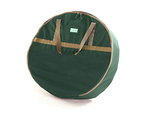 Covermates Keepsakes 36' Christmas Wreath Storage Bag – Heavy Duty Polyester - Interior Pouch - Dual Zipper Pulls - Holiday Storage - Green
