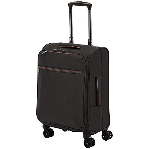 AmazonBasics Belltown, Softside Expandable Luggage Spinner Suitcase with Wheels, 21 Inch, Black
