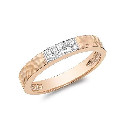 Carissima Gold Anillo Martillado para Mujer de Oro Rosa 9K (375) con Pavé de Diamantes (10 pts) - Talla 11