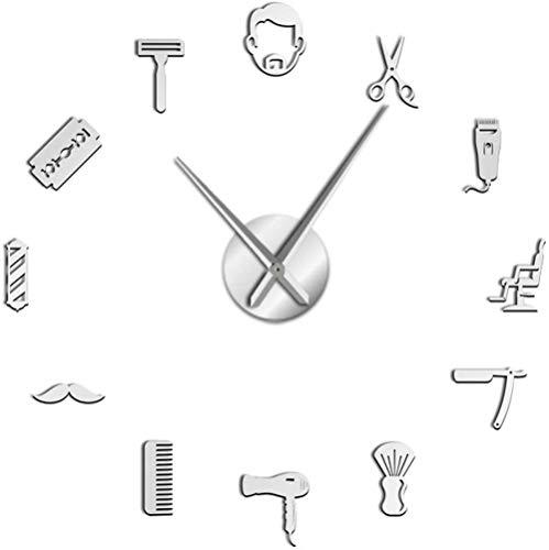 Reloj De Pared Reloj De Pared Estilo De Barba Grande Peluquería Reloj De Pared De Gran Tamaño Peinado Masculino Bigote Hombre Con Barba Herramientas De Peluquero Reloj De Pared Gigante Decorativo Diy