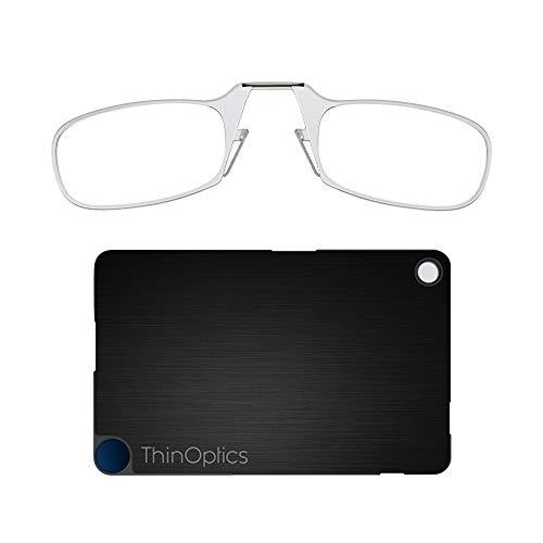 ThinOptics Flashcard Rectangular Reading Glasses, Clear Frames/Black Case, 44 mm + 1.5