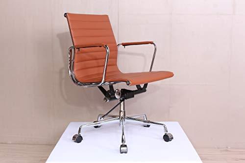 Real Marron Cuir Charles Eames Era Côtelé Chaise De Bureau Bas Arrière