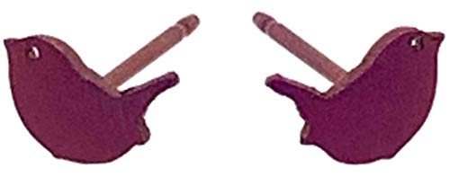 Ti2 Titanium Womens Wren 7mm Stud Earrings - Coffee Brown