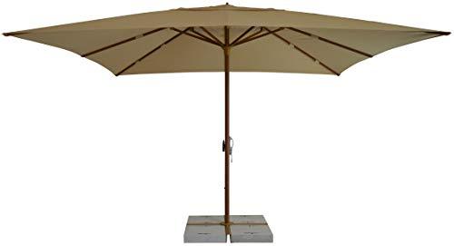 Tempo Style Brera - Paraguas para exteriores, 4 x 4 m, luces LED, sombrilla de jardín profesional de aluminio, parasol de exterior, paraguas de estacionamiento de playa, Legno Noce - Ecrù + LED