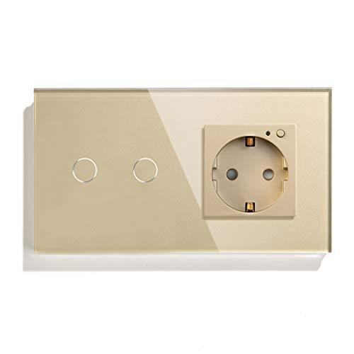 BSEED Interruptor de Luz Inteligente Alexa con Enchufe, Enchufe Schuko de Vidrio Alexa Vertical Empotrado, Interruptor de Luz Táctil WIFI en Vivo Único 2 Gang 1 Vía Oro