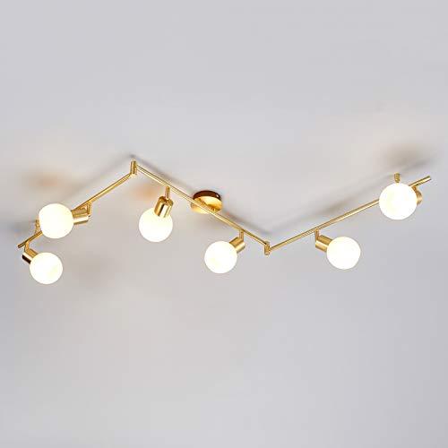Lindby LED Deckenleuchte 'Elaina' in Gold/Messing aus Metall u.a. für Wohnzimmer & Esszimmer (6 flammig, E14, A+, inkl. Leuchtmittel) - Lampe, LED-Deckenlampe, Deckenlampe, Wohnzimmerlampe