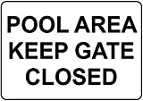 Kysd43Mill Schild Pool Area Keep Gate Closed, Metall-Aluminium-Warnschild, Privateigentum, dekoratives Metallblech