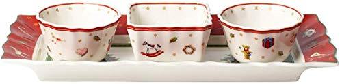 Villeroy & Boch Toy\'s Delight Dip-Set, 4-teillig, Premium Porzellan, Weiß/Rot