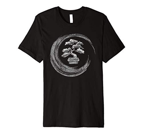 Bonsai Tree Enso Circle T-Shirt Vintage Zen Calligraphy Art