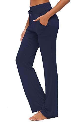 OURCAN Damen Yoga Hose Mit Taschen Breites Bein Kordelzug Lose Gerade Lounge Laufen Workout Modale Hose Aktive Freizeit Jogginghose (Marine Blue, M)