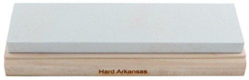 RH PREYDA Hard Arkansas Schleifstein, Körnung 800-1000, Stein 200x50x12 mm, Holzplattform