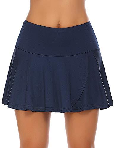 COOrun Damen Tennisrock Hosenrock mit Hose drunter Weiß Wanderrock Golfrock Kurz Skort Sportskort Marineblau L