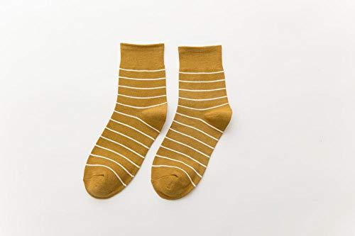 ROUNDER 3 pairs striped socks female college style classic women's socks breathable cotton socks-turmeric