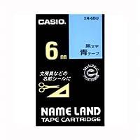 (まとめ) カシオ ネームランド用テープカートリッジ スタンダードテープ 8m XR-6BU 青 黒文字 1巻8m入 【×3セット】