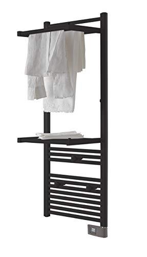 DELTACALOR - Toallero eléctrico de baño Papillon 2, 500 W, (143 x 50 cm.), Barras abatibles, tendedero, termostato Digital programable, 6 m², Negro
