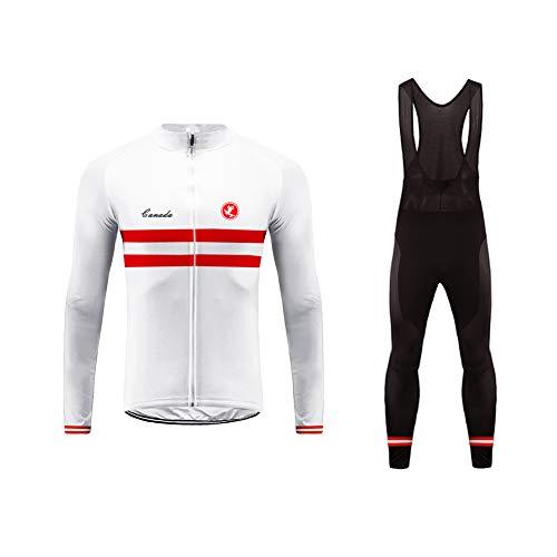 Uglyfrog Completo Ciclismo Uomo Thermo Vello Confortevole Maglia Manica Lunga + Pantaloni Imbottiti Vestiti di Ciclismo Set Caldo Squadra Nazionale GQX03F