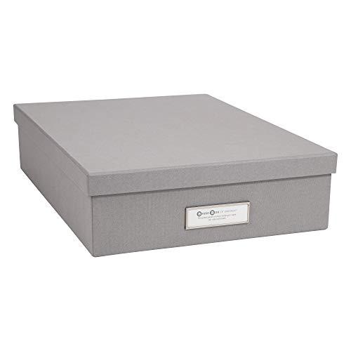 Bigso Box of Sweden Dokumentenbox für A4 Papier, Broschüren usw. – Schreibtischablage mit Deckel und Griff – Aufbewahrungsbox aus Faserplatte und Papier – grau