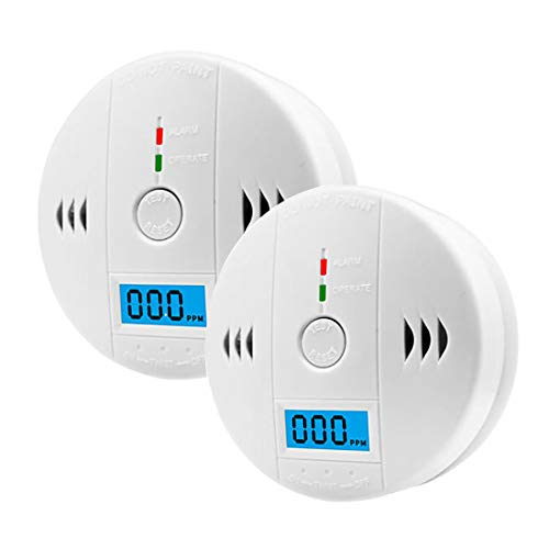 2 Pack CO Detector, Carbon Monoxide Gas Detection, CO Alarm with LCD Digital Display, Not Included Battery Powered