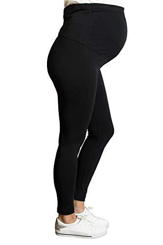 Bequeme Umstandsleggings für den Alltag und Sport Schwanger Damen Schwangerschafts-Leggings Umstandsmode (Schwarz, Medium)