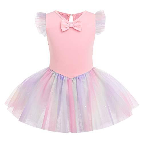 IMEKIS Vestito da Balletto per Bambina Ginnastica con Paillettes Lucido Body Tutu Gonna a Maniche Corte Cotone Arcobaleno Ballerina Dancewear Rosa 5-6 Anni