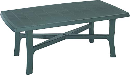 Dmora Rectangular Outdoor Table, Made in Italy, 180 x 100 x 72 cm, Green, Large