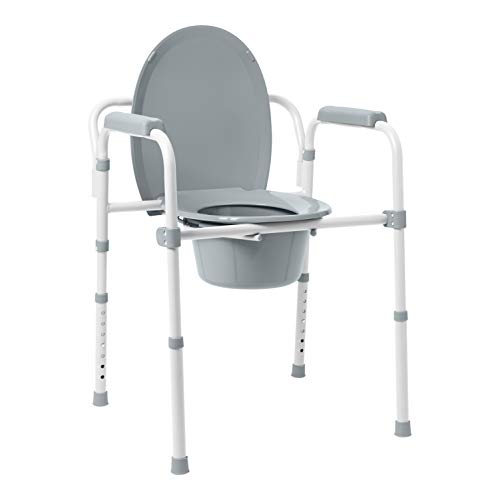 Medline 3-in-1 Steel Bedside Commode, Elongated Seat, Folding Frame, Clip on Seat for Easy Cleaning, 350 lb Capacity