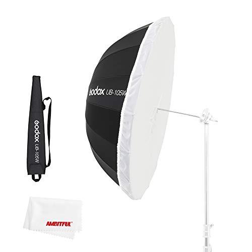 Godox UB-105W 41インチ 105cm ストロボアンブレラ 放物線ブラックホワイト反射傘スタジオライト傘とブラックシルバーディフューザーカバークロス付き (105cm黒白い傘)