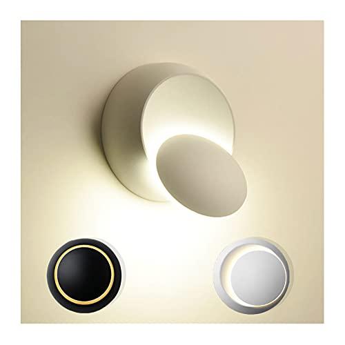 TOSZWJDY001 Aplique Pared Interior, Rotación de 360 ° Lampara Led Pared LED Exteriores Iluminación para Luces de Escalera de Dormitorio Salón Balcón,White Indoor,6500K White