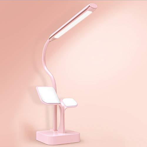 RGF Multifunción LED Lámpara de Mesa Soporte para teléfono Táctil Stepless Oscurecimiento USB Recargable Aprendizaje Protección Ocular Lámpara de Mesa de Lectura (Color : Pink)