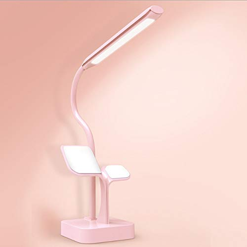 Yangmanini Multifunción LED Lámpara de Mesa Soporte para teléfono Táctil Stepless Oscurecimiento USB Recargable Aprendizaje Protección Ocular Lámpara de Mesa de Lectura (Color : Pink)