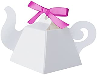 White Teapot Favor Boxes by Paper Frenzy Tea Party and Princess Parties 25 count (White)