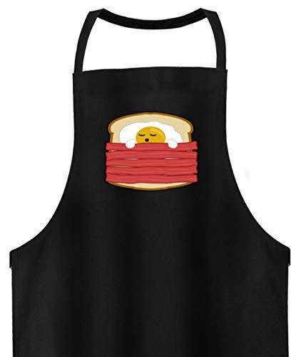 SPIRITSHIRTSHOP Ei mit Bacon auf Toast - Toast Hawai Fast Food - auch als Geschenk - Hochwertige Grillschürze -Einheitsgröße-Schwarz