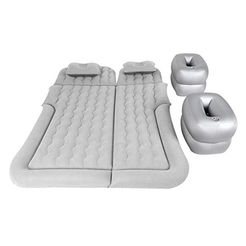 Estink - Colchón hinchable para coche, colchón hinchable, colchón hinchable, con bomba de aire y almohadas, para SUV, coche, coche, hinchable, colchón para cama de 174 x 126 cm (gris)