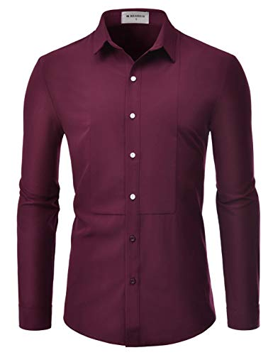 LOCALMODE Men's Slim Fit Cotton Business Casual Shirt Solid Short Sleeve Button Down Dress Shirts Large Wine Red