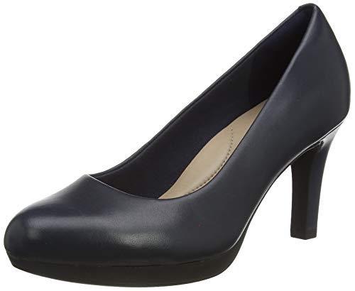 Clarks Adriel Viola, Zapatos de Vestir par Uniforme Mujer, Cuero Azul Marino, 38 EU