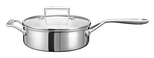 KitchenAid Sautoir pfanne mit Griff und Deckel, Edelstahl, Silber, 24 cm