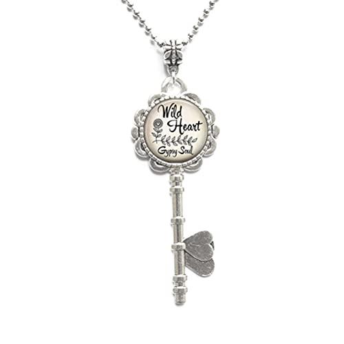 Collar con llave de corazón salvaje, corazón gitano, collar de llave de corazón salvaje, joyería salvaje en el corazón, collar de llave bohemio, N276
